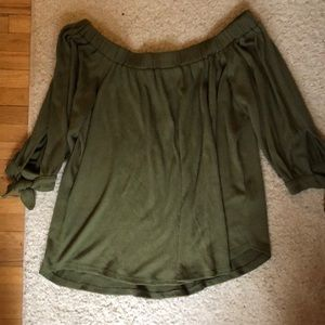 Forest green off the shoulder blouse